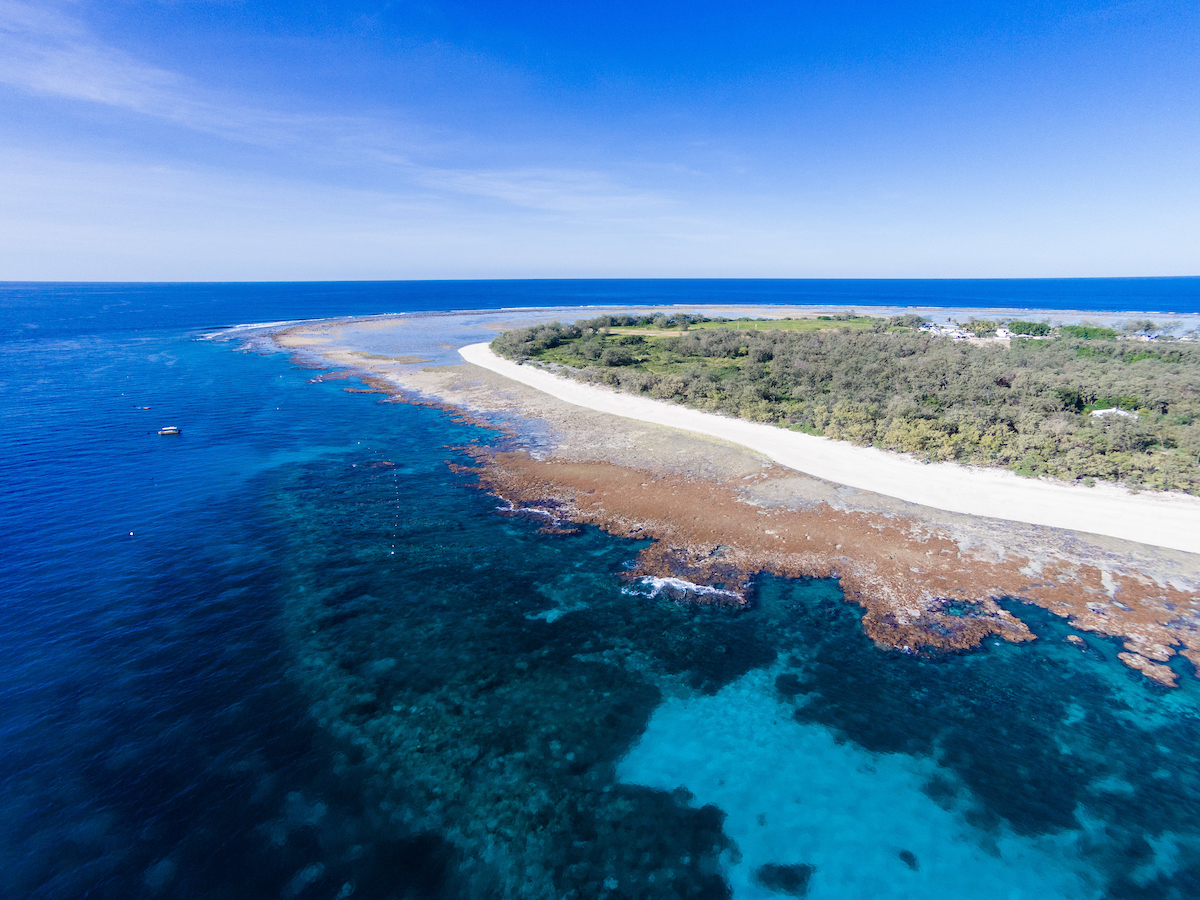 Aerial photograph of Lady Elliot Island & its fringing reef, Great Barrier Reef, Queensland, Australia