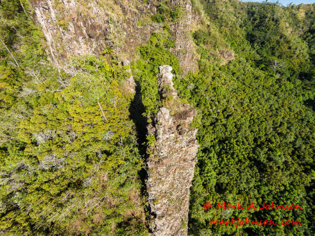 Aerial photograph of a stone pillar on the flanks of Mt Nounou (Sleeping Giant), Kauai, Hawaii